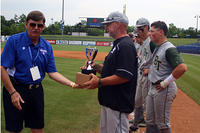 052717 - Blessed Trinity coach Andy Harlin accepts state runner-up trophy