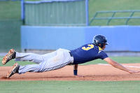 052517 - 010 - Marist's Patrick Duffy dives back to first base in Game 2