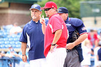 052917 - 03 - Lee County coach Brandon Brock and Pope coach Jeff Rowland meet at home plate before Game 1 edited-1